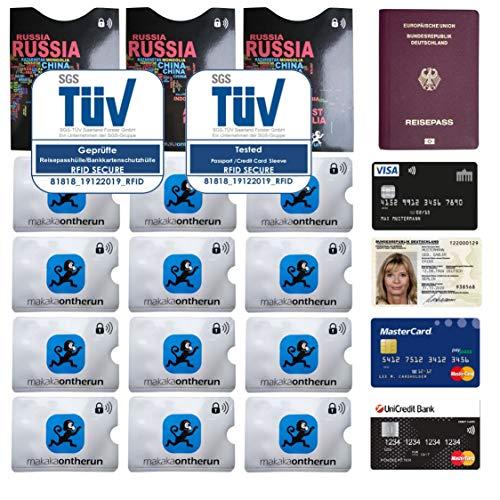 TÜV geprüfte MakakaOnTheRun RFID Blocking NFC Schutzhüllen für Bankkarten & Reisepässe - RFID Blocker NFC Kreditkartenhülle EC-Karte, Bankkarte, Kreditkarte, Reisepässe (MakakaOnTheRun 12+3)