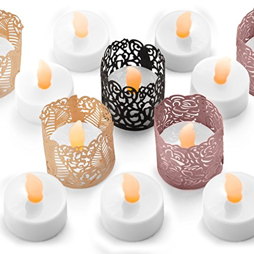 Flameless LED Tea Light Candles - Bonus Ivory, Blush and Black Decorative Holder Wraps Included, Battery Operated, Flickering Votive Fake Tealights - 24 pack