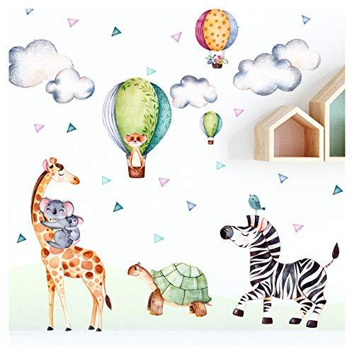 Little Deco Wandsticker Safari Party I Wandbild L - 167 x 110 cm (BxH) I Giraffe Zebra Aufkleber Wandtattoo Kinderzimmer Wandaufkleber Deko Babyzimmer DL304