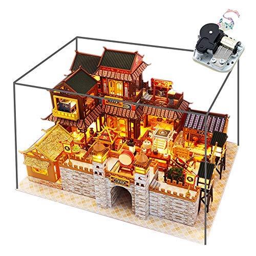 Escena en miniatura estilo chino casco antiguo modelo kit DIY casa de muñecas de madera creativo patio montado casa de juguetes
