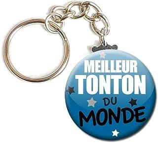 Porte Clés Chaînette 3,8 centimètres Meilleur Tonton du Monde Idée Cadeau Accessoire Tonton mon Oncle