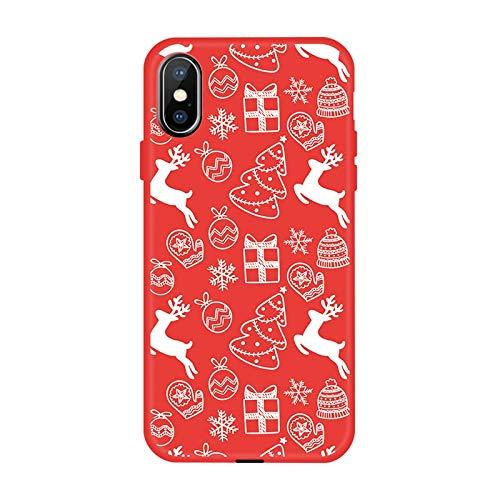 VHR Fundas Caja del Teléfono De Invierno para iPhone XS MAX XR XS X 8 7 6 6S Plus Funda De TPU Suave Encantadora para iPhone 7 8 6 6S Plus X Funda De Navidad Funda, 01, para iPhone 6 Plus