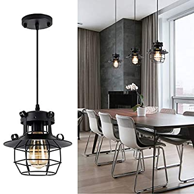 Black Pendant Lights Rustic Industrial Island lights Vintage Hanging Ceiling Lighting Metal Light Fixture for Kitchen, Farmhouse, Dining, Room, Restaurant, Cafe, Barn, Bar, Hallway