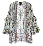 Anna Sui Women's White Multi Bouquet Bordered Butterflies Tulle Bed Jacket White Multi S from