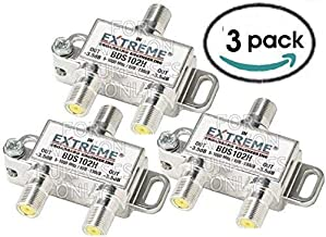 cableTVamps 2 Way Extreme HD Digital 1GHz HIGH Performance Coax Cable Splitter - BDS102H (3 Pack)