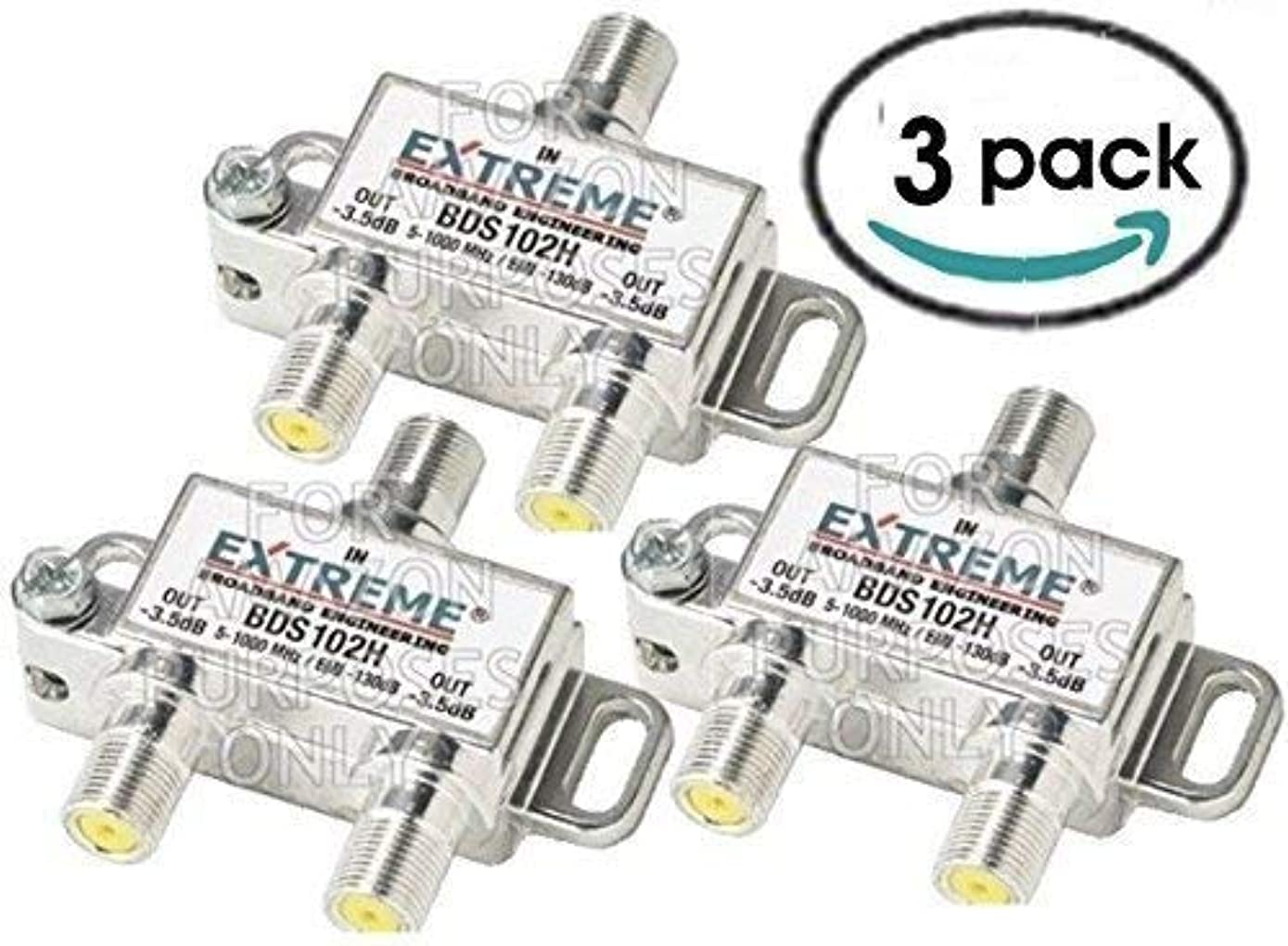 2 WAY EXTREME HD DIGITAL 1GHz HIGH PERFORMANCE COAX CABLE SPLITTER - BDS102H (3 Pack)
