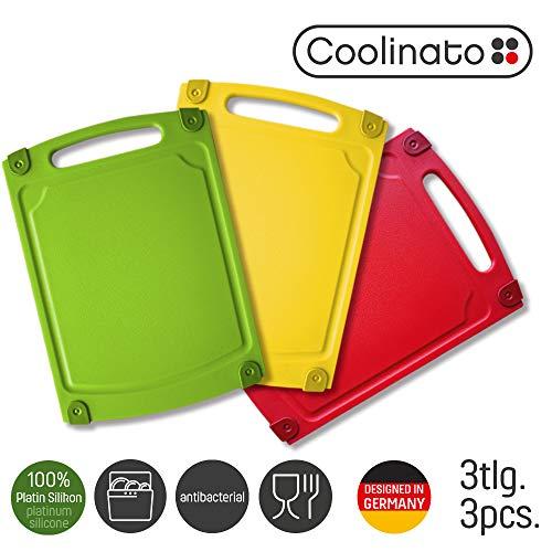 Coolinato Schneidebrett 3er Set Antibakteriell Spülmaschinenfest Saftrille & Griff, bunt,...