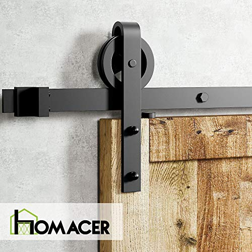Homacer Sliding Barn Door Hardware Standard Double Door Kit, 8FT Flat Track Black Wheel Design Roller, Black Rustic Heavy Duty Interior Exterior Use