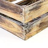 Divero 4er Set Vintage Holzkisten geflammt Braun Staubox Weinkiste Obstkiste Aufbewahrungsbox 4 Größen Stapelbox Spielzeugkiste Regal-Box - 2