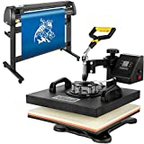 Mophorn Heat Press Machine 15x15 inch 5in1 T-Shirt Heat Press and Vinyl Cutter 54 inch Plotter Machine 1350mm Paper Feed Vinyl Cutter Plotter