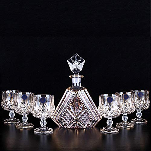 Fanuosuwr Cavalier de Vino de Boda Hilos de Oro Botella de Vino Set de Cristal Cristal Whisky Copa de Vino Copa de Vino de Siete Piezas Set Uso de Múltiples Etapas (Color : Transparent, Size : 600ml)