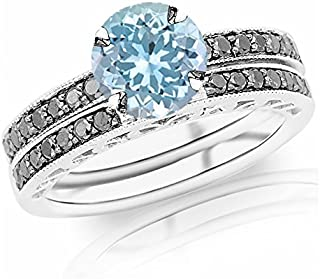 1.02 Carat t.w 14K White Gold Pave Set Black Diamond Engagement Ring and Wedding Band Set w/a 0.75 Carat Round Cut Blue Aquamarine Heirloom Quality