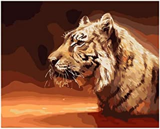 Jiahuade Digital Painting King Animals Tiger Lion Leopard Painting No Frame Pictures Painting by Numbers DIY Canvas Oil Painting Home Decor Living Room