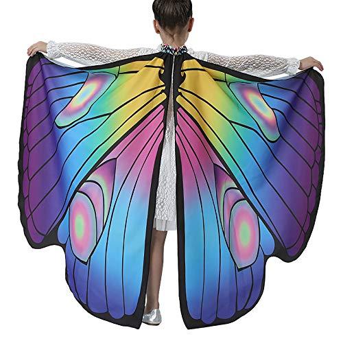 OIKAY Damen Schmetterlingsflügel Schal Schals Kinder Nymphe Pixie Poncho Umhang Kostümzubehör für Halloween Weihnachten Karneval Fasching Party Cosplay Butterfly Flügel(G4,135x110cm/53.1X43.3)