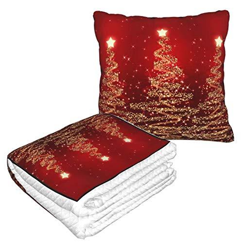 Manta de almohada de terciopelo suave 2 en 1 con bolsa suave, elegante Navidad con brillantes árboles, funda de almohada roja para casa, avión, coche, viajes, películas