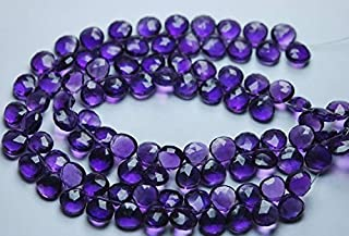 Jewel Beads Natural Beautiful jewellery 7 Inch Strand,Super Finist,Amethyst Purple Quartz Faceted Heart Shape Briolette,Size 8mmCode:- JBB-28372
