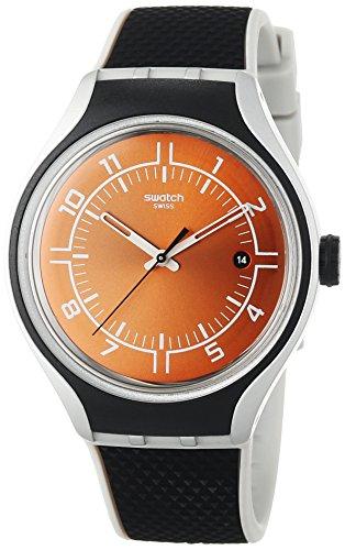 Swatch Unisex-Armbanduhr GO Jog Analog Quarz Leder YES4002