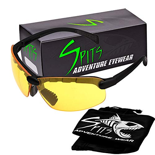 Spits Eyewear Hunting Top Focal OR Bottom Bifocal Shooting Safety Glasses, Black Frame, Various Lens Options (Yellow Lenses, 1.75 Bottom)