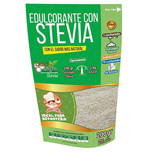 EDULCORANTE STEVIA DULCILIGHT |Envase de 200gr |Natural Granulado con Fibra Vegetal|200gr = 2kg de azúcar|Formato Ahorro para Reposteria Premium
