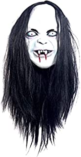 Halloween Zombie Mask Props Grudge Ghost Hedging Zombie Mask Realistic Masquerade Halloween Mask Long Hair Ghost Scary Mask White