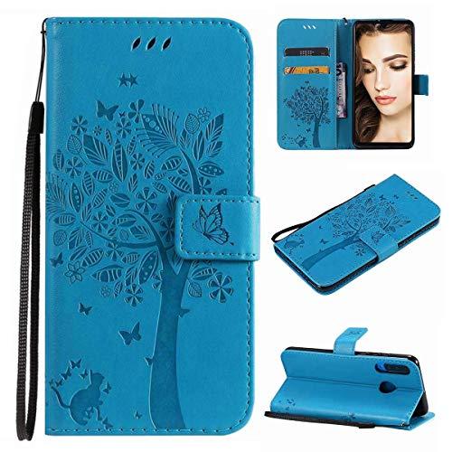 Funda para Huawei P20 Lite, funda para Huawei P20 Lite, funda para teléfono móvil, ranuras para tarjetas, cierre magnético, piel sintética, funda de poliuretano termoplástico antigolpes, color azul