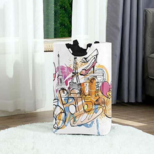 DEZIRO Graffiti Torre Eiffel - Bolsa de tela plegable para ropa sucia para guardería, cesta de bebé