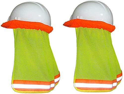 Minleer Sombrilla de protección para el cuello (2 unidades), malla de ala completa, accesorios para sombreros duros, alta visibilidad, reflectante (amarillo)