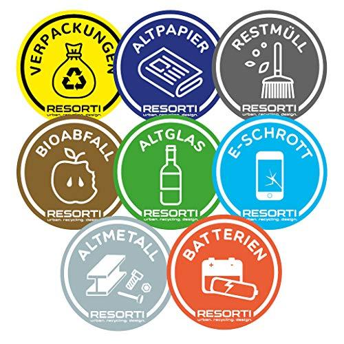 Resorti Aufkleber 8er Set für Abfall- und Mülltrennung (Restmüll, Gelber Sack, Biomüll, Alt-Glas, Papier-Müll, E-Schrott, Altmetall, Batterien)