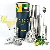 Boston Shaker Set Edelstahl Tin, Cocktailshaker Profi Geschenkset Boston Shakers tin in tin Gewichtet Becher Cocktail Bar Zubehör Barkeeper Geschenk für Frauen Männer Originelle Geschenkbox