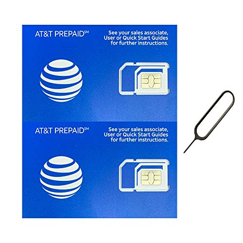 (2 Pack) Authentic AT&T ATT SIM Card Micro/Nano/Standard GSM 4G/3G/2G LTE Prepaid/Postpaid Starter Kit Unactivated Talk Text Data & Hotspot (+ Free Tray Removal Remover Eject Pin Key Tool)