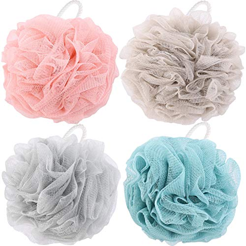 4 Packs Wash Puff 60g/pcs Shower Poof Body Mesh Bath Sponge Loofas for Showering