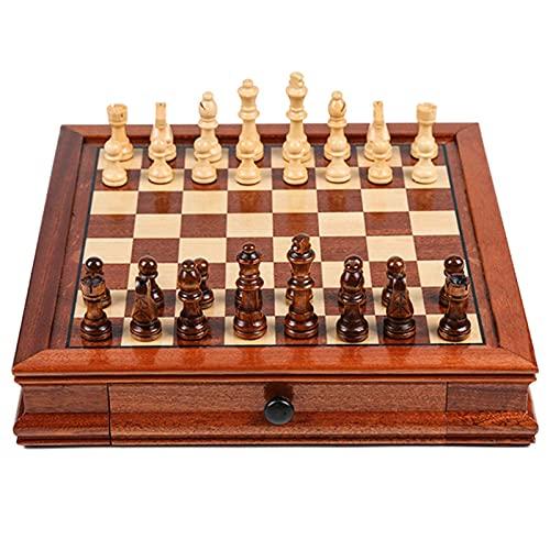 Jogo de xadrez magnético de Madeira com gaveta de armazenamento Mesa de Jogo portátil dobrável educacional Interior feito à mão em feltro, 31x31x6cm, 41x41x8cm, 31cmx31cmx6cm