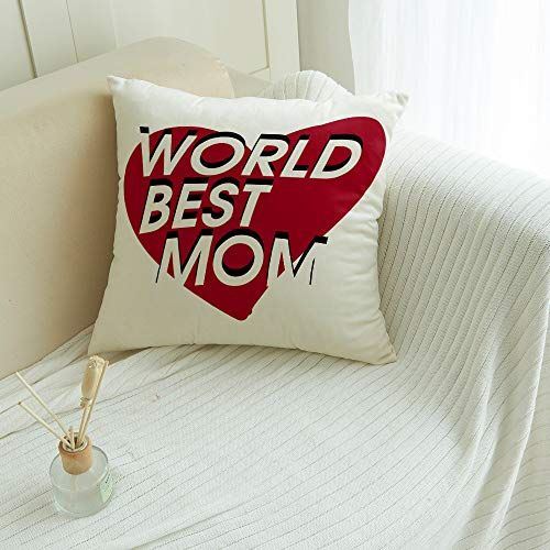 FAMILYDECOR Soft Throw Pillow Covers Cushion Cover for Couch Bed Bench Car - Square Pillow Cases Sofa/Bedroom/Balcony Decorative Pillowcase, World Best Mom on Red Heart 20x20 inches