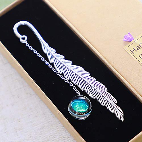 Konrisa Metal Bookmarks for Women Men Classical Bookmarks Feather Shape with Luminous Bead Constellation Creative Reader Gifts Kids Girls Reading Lovers