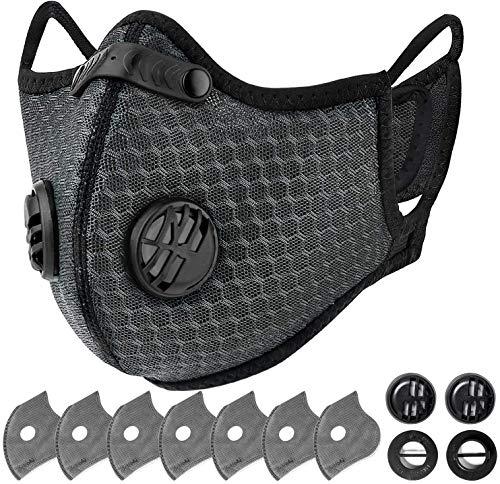 AstroAI Staubschutzmaske mit 7 6-Schiechten Filtern & 4 Atemventile, Wiederverwendbare Nasenschutz Mundschutz Maske Schutzmaske für Laufen, Radfahren und Aktivitäten im Freien, Grau