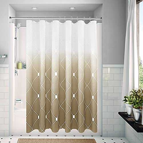 """Textured Gold Ombre Shower Curtain for Bathroom 72"""" x 72"""",Geometric Pattern Waffle Weave Fabric Shower Curtain Set with Hooks, Checkered Printed Bath Curtain, Machine Washable,Brown Gradient"""
