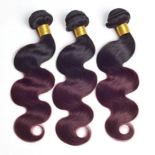 Ruiyu Lot de 3 extensions de cheveux brésiliens vierges de qualité 7A, 3 trames ondulés, 2 tons, non transformés, 45,7 cm, 50,8 cm, 50,8 cm, 50,8 cm, couleur #1b-99j