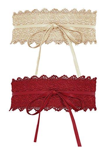 CHIC DIARY Damen Vintage Gürtel mit Spitze Breiter Taillengürtel Hüftgürtel Bindegürtel Wickelgürtel (Beige+Rot)