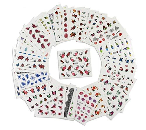 50 Blatt Nail Art Aufkleber, Wassertransfer, Maniküre, Nagelaufkleber, Dekoration, Farbe, DIY Nail Beauty Tool Tattoo (verschiedene Muster, Blumen, Schmetterlinge, etc.)