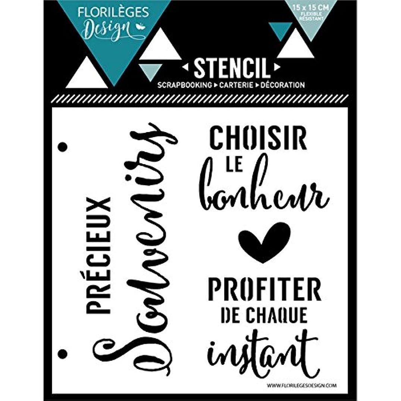 Florilèges Design fds11615?Happiness Instant Stencil 15?x 0?cm, White Plastic