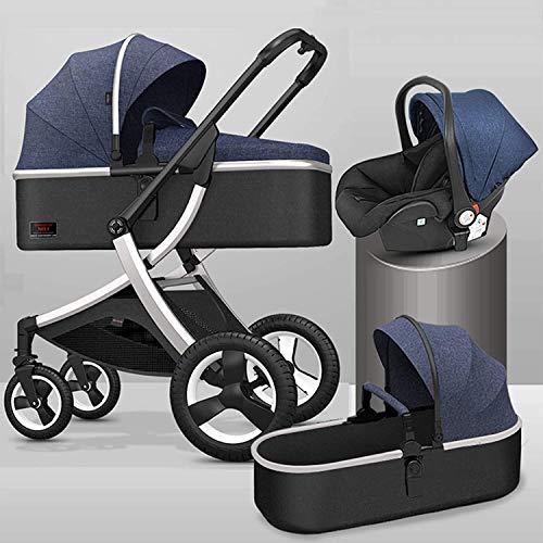 3 en 1 carruaje de cochecito plegable, cochecito de sillas de aleación de aluminio, absorción de choque de caucho de cuatro ruedas, cochecito con cubierta de mosquitera y pies adecuada para bebés de 0
