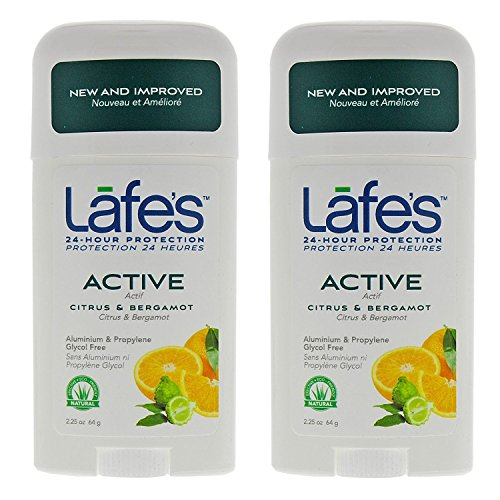Lafe's Natural Body Care | Active - Citrus & Bergamot - Stick Deodorant | 24-Hour Protection & All Natural; 2 Pack (2.25oz each)