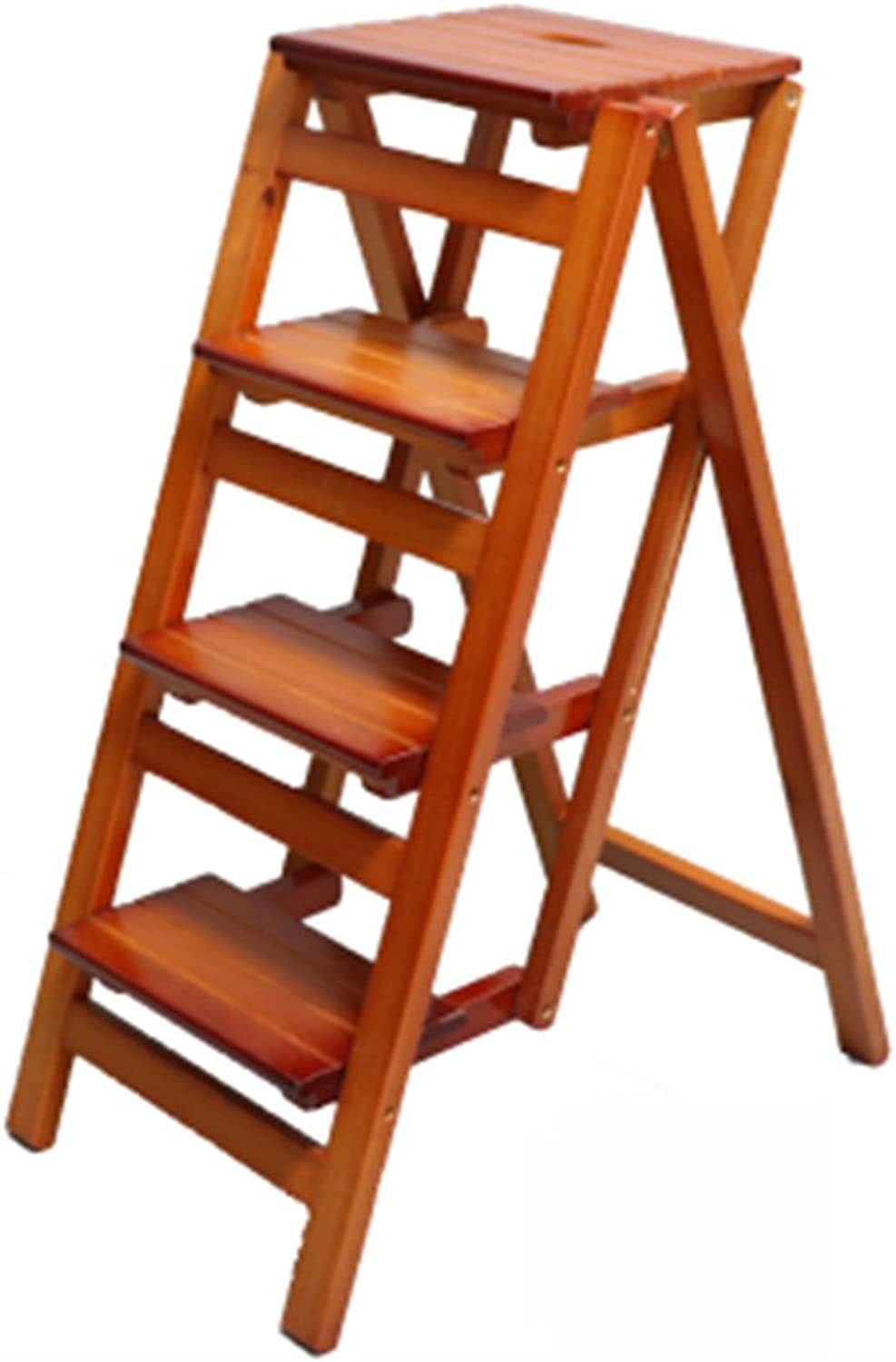 NEVY-Ladder Stools Household Non-slip All Solid Wood Multifunction Foldable Wholesale Safety Health, 4 Step Ladder (color   Light walnut)
