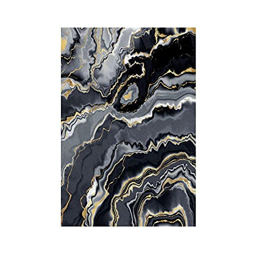 CHENCHAOK Alfombra de Sala de Estar de Dormitorio 3D Alfombra de Curva Abstracta Negra Alfombra de Mesa de Comedor de Sala de Estar alfombras de Piso