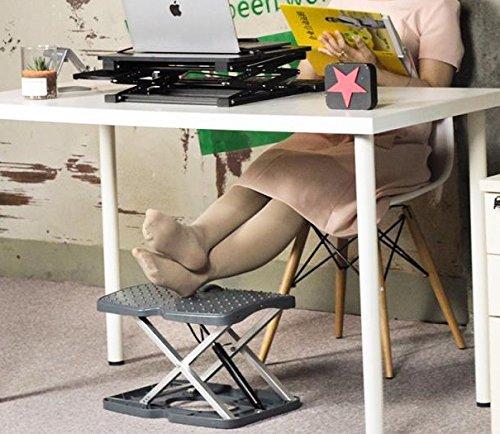 Adjustable Footrest for Home Office, Or Under Desk Ergonomic Foot Rest (Footstool) (Adjustable Hands Free Dark)