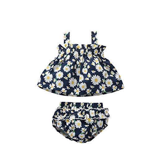 Xniral Baby Mädchen Babykleidung Set, Sonnenblumen Hosenträgeroberteil + Slip Shorts Neugeborene Kleinkinder Babyset(Marine,3-6 Monate)