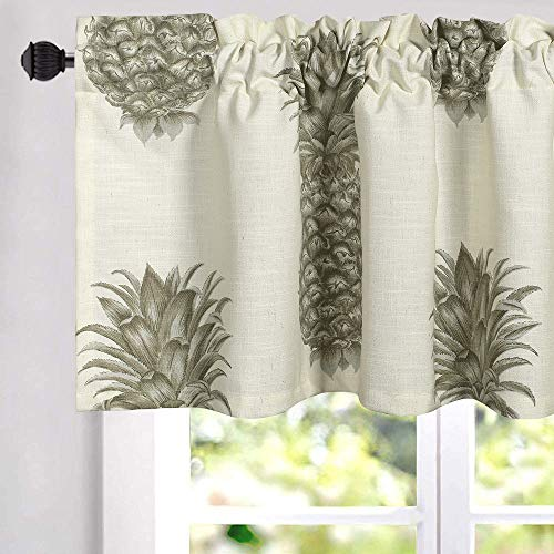 VOGOL Curtain Valances Simple Grey Pineapples Printed Curtains for Door Head, Rustic Country Style Top Pocket Valance for Kids Room Bathroom, One Panel, 52 X 18 Inch