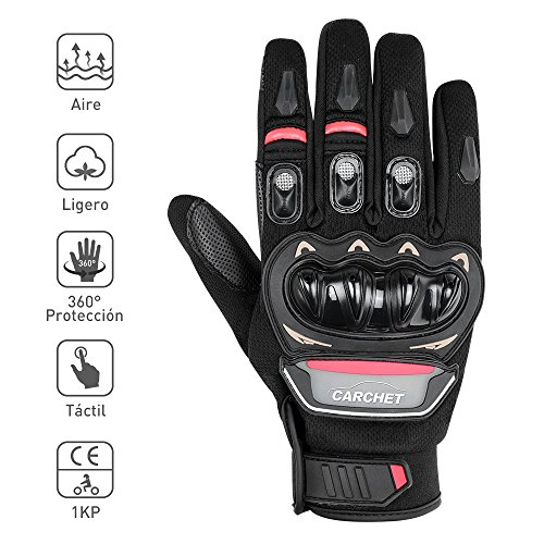 CARCHET Guantes de Moto, Guantes con Protección de Verano Impermeable de Pantalla Táctil Dedo Completo para Motocicleta Excursión Bici Ciclismo Deporte Talla L