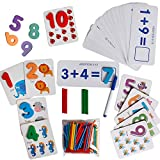 Educational Preschool Fun Cartoon Three-Dimensional Number Cards Matching Teaching Aids Toy Tool Flashcard Kindergarten Arithmetic Number Stick Math Enlightenment Wooden Toys Over 3 Years Old