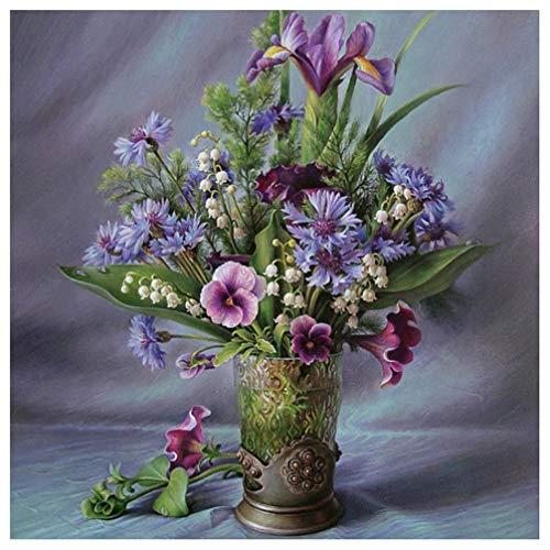 5D-Strassstein-Gemälde, mit quadratischen Strasssteinen und Werkzeug, Flowers and vases, 30X30cm